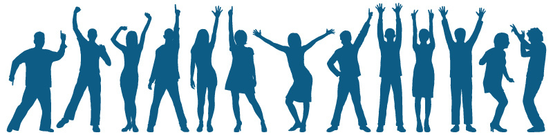 Illustration of social worker silhouettes with hands raised.