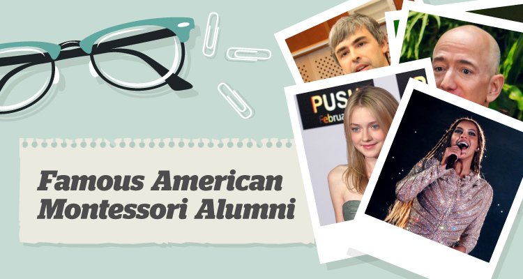 Glasses, paper clips and photos of famous american montessori