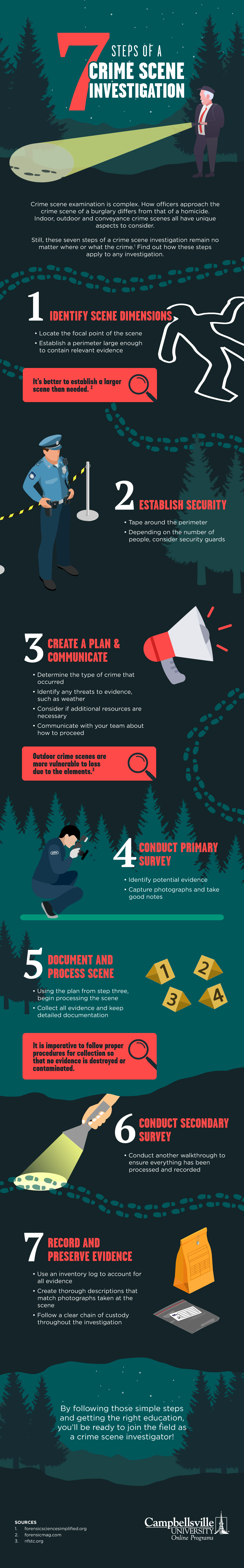 Illustrated infographic with an outdoor, wooded, night time theme which shows investigators working through the 7 steps of a crime scene investigation.