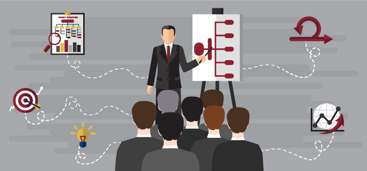 Business man presenting data on an organization chart to a group of people in business attire. Icons are spread throughout the background symbolizing growth.