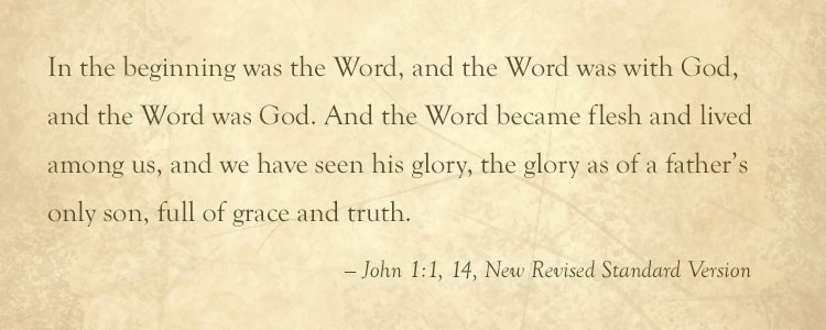 Quotation from the Book of John chapter 1 verses 1 and 14