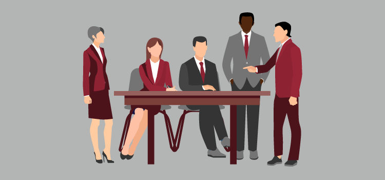 Illustration of men and women in business attire, two sitting and two standing, receiving delegated responsibilities from a fifth person in leadership.