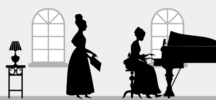 Silhouette landscape image of two women in 19th century clothes. One instructing and the other playing piano.