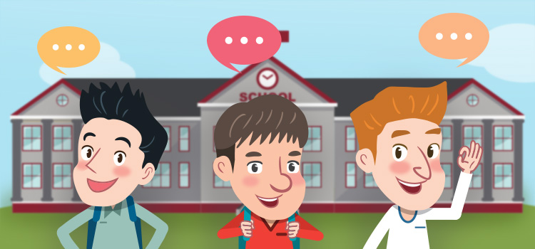 Three young students stand in front of school with text bubbles above their heads. There are ellipses within the text bubbles.