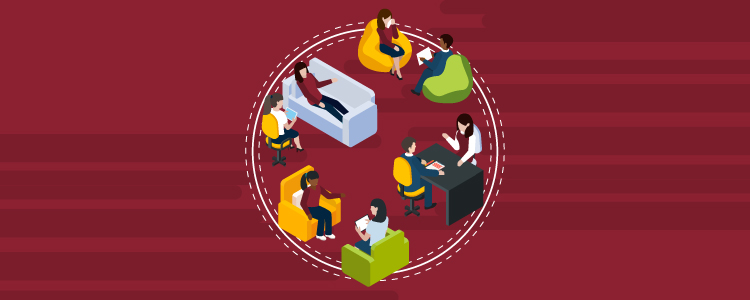 Illustration of social workers and their clients in various settings: at a formal desk; being counseled on a couch; having a face to face discussion in easy chairs; etc.