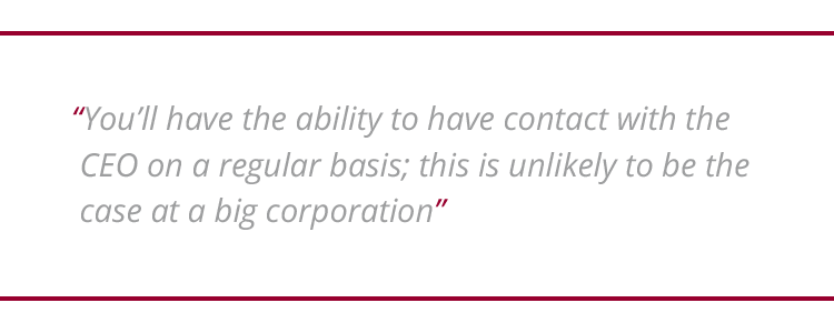 "Image of graphic quotation: ""You'll have the ability to have contact with the CEO on a regular basis; this is unlikely to be the case at a big corporation"""