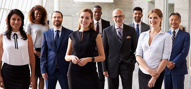 Mixed group of business men and women of various ages.